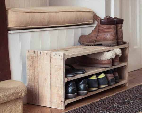 shoe-rack-made-from-a-pallet-how to get rid of pallets